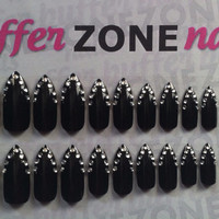 Hand Painted Press On False Nails, Black With Rhinestones, Stiletto Long Length