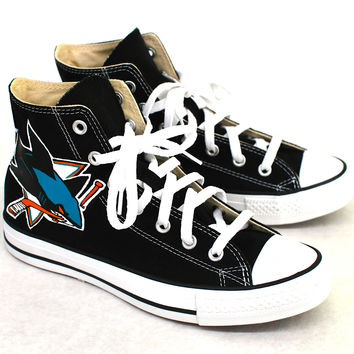 reputable site c28f2 0052e Black Converse Chuck Taylor - San Jose Sharks