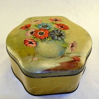 English Biscuit Tin w/ Hinged Lid - Poppy Floral Design - Clam Shell Shape - Vintage Cottage Chic