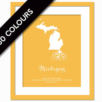 Michigan Roots - State Map Art Print - Michigan Map - Geography Poster - Michigan Art Print - Michigan Poster - Travel Art  - Custom State