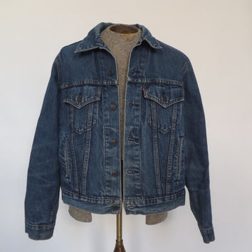 Vintage 1980s Men's Levi Strauss Denim Jacket Dark wash Distressed denim Coat 46 Large Retro Rugged Cowboy Jean Ranch Jacket