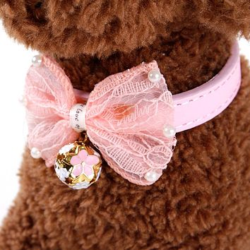 Dog Collar PU Leather With Bells Butterfly Ties Cute Cats Pets Supplier Accessories Collar Adjustable Free Shipping