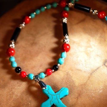Southwestern Turquoise Cross Red coral Onyx Pendant Necklace