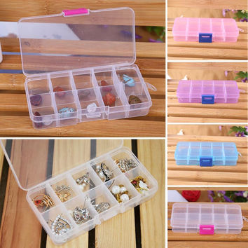 10 Grids Adjustable Jewelry Beads Pills Nail Art Tips Home Organize Storage Plastic Box Case Free shipping