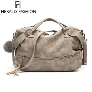 Herald Fashion  Vintage Nubuck Leather Female Top-handle Bags Rivet Larger Women Bags Hair Ball Shoulder Bag New Motorcycle Bags