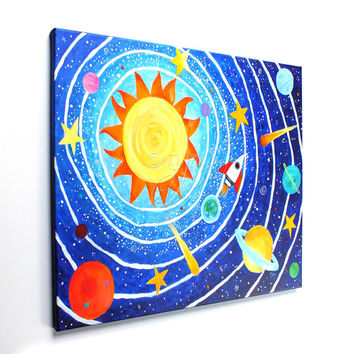 Solar System #7, Children's Room Art, 24x18 Acrylic Canvas, Wall Art for Kids