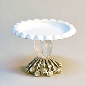 Miniature Pedestal Tray Fancy Cake Stand Dollhouse Metal Plate Fairy Garden Accessory