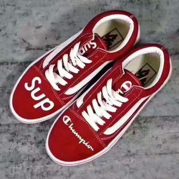 PEAPON vans+champion+supreme' Fashion Women/man Running Sport Casual Shoes Sneakers red