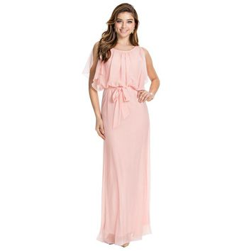Women's 2017 New Puff Sleeve O-Neck Floor-Length Chiffon Summer Dress Style Long Maxi Dresses Clearance Sale