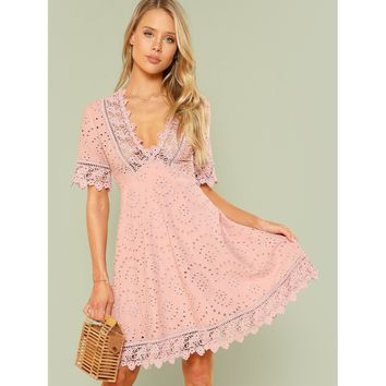 Lace Trim Eyelet Embroidered Dress Pink