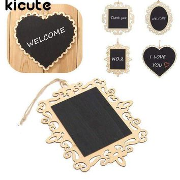 Cute Mini Vintage Hanging Wood Blackboard Chalkboard Message Label School Teaching Memo Sign Home Party Wedding Christmas Decor