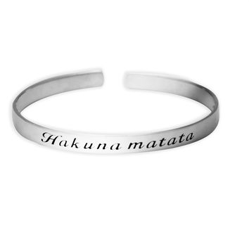 Circular Hakuna Matata 925 Sterling Silver Adjustable Cuff Bracelet Bangle