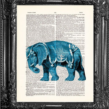 BLUE CIRCUS ELEPHANT-Dictionary Print Book Print Page Art-Upcycled Antique Book Page-Print On Dictionary Book Page-Upcycled Book Page