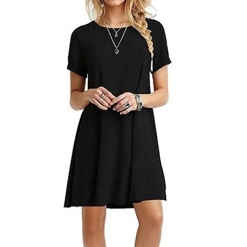 Casual Women Short Sleeve Slim Dress Bodycon Female and Plus Size