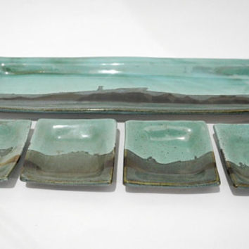 Serving Tray Platter and Dishes - Serving Suggestions for Appetizers, Tapas, Sushi - Handmade Potter - Dead Sea Landscape Design