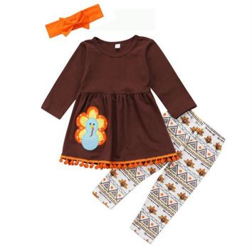 cool Kids Baby Girls Clothes Thanksgiving Outfit turkey print sleeve brown Dress long floral Pants Leggings clothes Set for baby