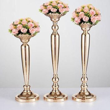 10PCS Metal Gold Candle Holders Road Lead Table Centerpiece Stand Pillar Candlestick For Wedding Candelabra Flowers Vases 66