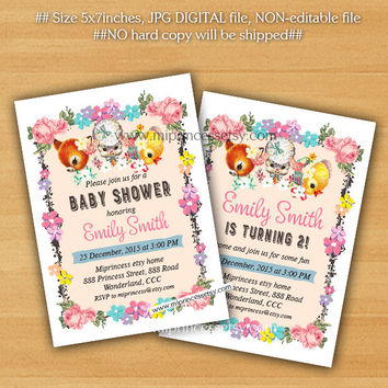 Birthday Party invitation OR baby shower Invitation, retro vintage fawn lamb deer design shabby chic vintage deer lamb duck - card 798