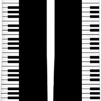 Don't you play with me! Music style knee high socks, piano keyboard clipart, black and white