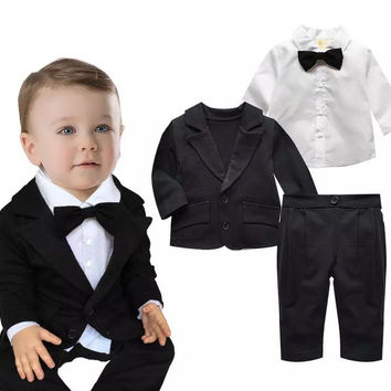 3pieces Baby Clothing set autumn Spring children kids boys suit+Tie Shirt Blouse+Pants gentleman clothes wedding formal clothing