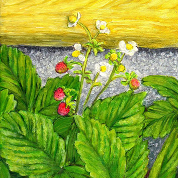 """instant download spring nature art painting """"Wild Strawberries and Flowers"""" wall art deco (52)"""