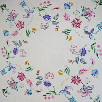 French hand embroidered tablecloth - unused floral table topper