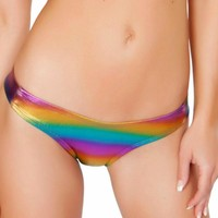 Rainbow Holographic Booty Shorts