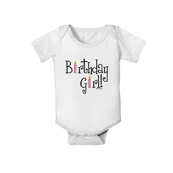 Birthday Girl - Birthday Candles Baby Romper Bodysuit by TooLoud