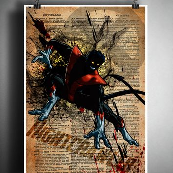 Nightcrawler wall art, xmen splatter art print, superhero dictionary art