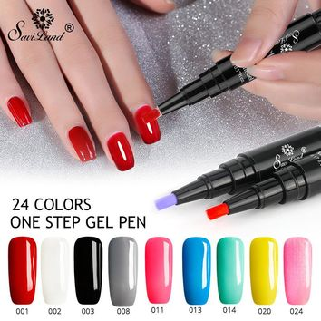 Saviland Newest 3 In 1 Gel Nail Varnish Pen Glitter One Step Nail Gel Polish Hybrid 24 Colors Easy To Use UV Gel Lacquer