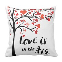 Love is in the air quote throw pillow