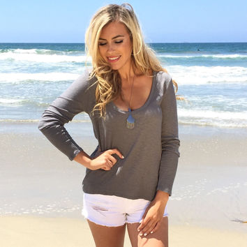 Express Scoop Ribbed Top In Slate