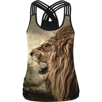 2018 Summer Punk Tank Top Women's Tee Shirt Lion Head Printed Hip Hop Street Wear 3d Female Vest Ladies Camisole Sexy Backless