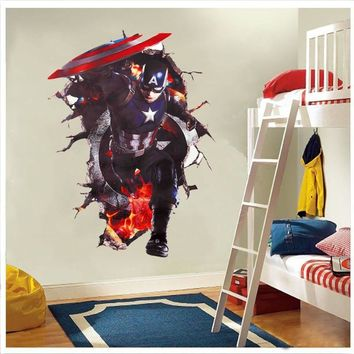 handsome Avengers through wall stickers for kids rooms bedroom diy wall art decals 3d Captain America smashed decorative posters