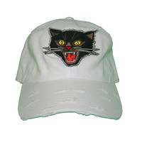 Vintage Culture Mad Cat Patched Distressed Dad Hat In White