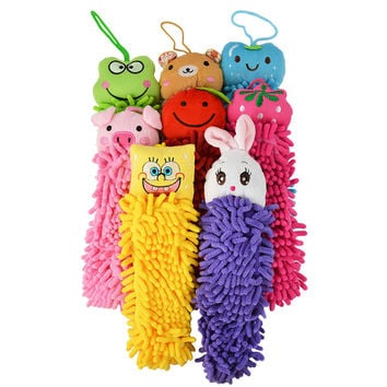Lovely Cartoon Hanging Hand Dry Towel Kitchen Bathroom Office Car Cleaning Cloth Microfiber Fabric Quick-Dry Towel