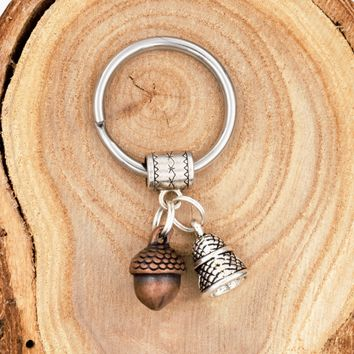 Peter Pan Kiss Keychain with Acorn & Thimble Charms