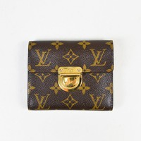 "Louis Vuitton Brown Monogram Coated Canvas Gold Tone ""Koala"" Wallet"