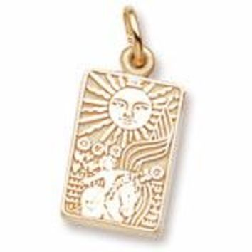 Tarot Card Charm In Yellow Gold