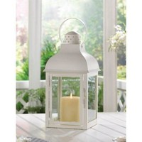 Gable Large White Lantern (pack of 1 EA)