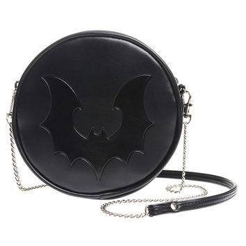 Black Vampire Bat Round Embossed Purse Shoulder Bag