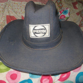 VINTAGE 70S Pepsi company employee  advertising denim cowboy hat     size large