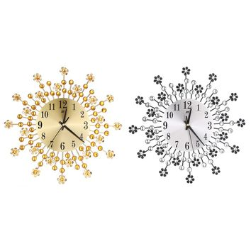 Inlaid Diamond Flower, Living Room Silence Metal Wall Clock