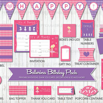 Ballerina, Tutu, Birthday Party Decorations, DIY Party, Girl, Princess, Pink, Blonde, Ballet, Little Girl, Printable, Instant Download
