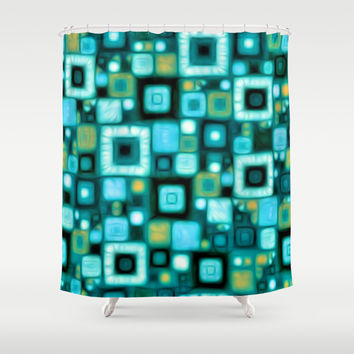 Teal Squares Shower Curtain by Kirsten Star | Society6