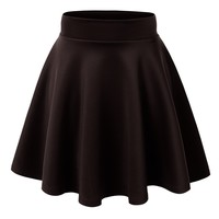 Lock and Love Womens Basic Versatile Stretchy Flared Skater Skirt