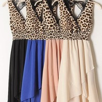 LACE LEOPARD HOLLOW OUT BACK STITCHING CHIFFON DRESS