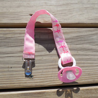 Pacifier Holder, Pink Ballerinas  Ribbon Pacifier Holder or Clip, Baby Girl Pacifier Holder, Binky Clip, Ballerina Toy Clip
