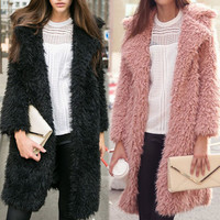 Wool nine points in the sleeve lapel long furry coat fur cardigan