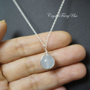 Sterling Silver Blue Chalcedony Necklace  - Single Simple Chalcedony Jewelry - Wire Wrapped Chalcedony Pendant